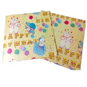 Vintage 80s Gift Wrapping Paper 2 Sheets